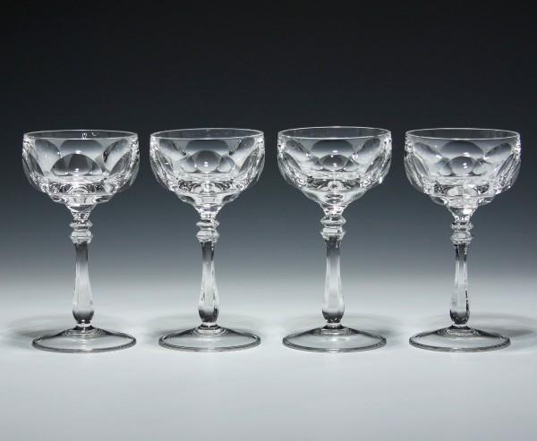 4 handgeschliffene Bleikristallgläser 1960er Jahre