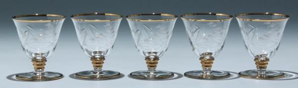 5 Art Deco Kelchgläser Frankreich - Höhe 8,5 cm - Serie 9