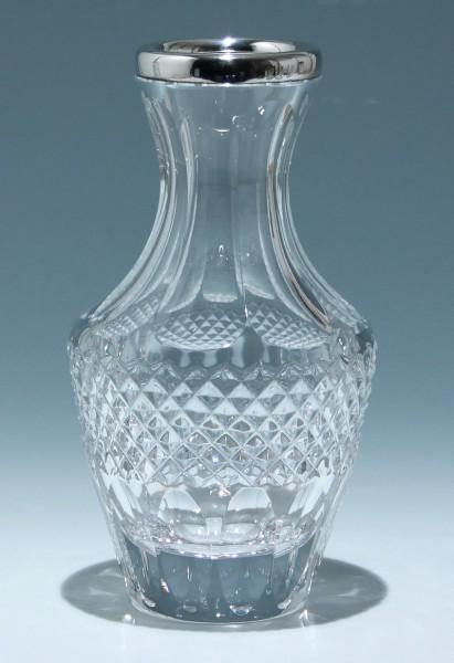 Handgeschliffene Bleikristallvase mit 835er Silberrand - 1960er Jahre