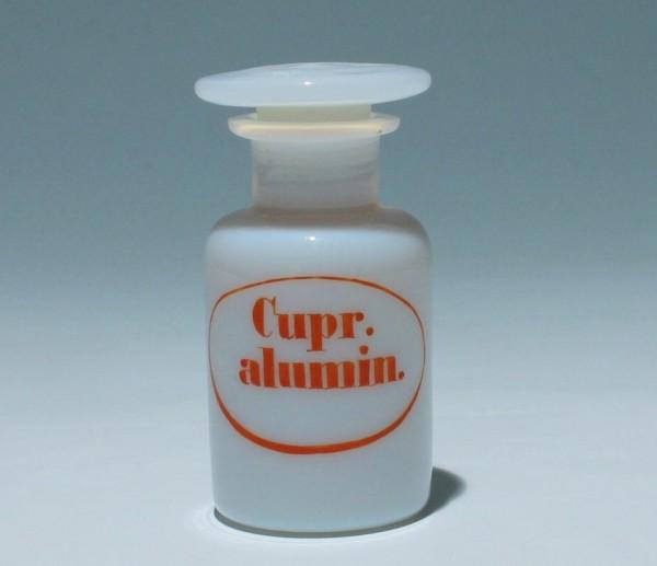 Milchglas Apothekenflasche Cupr. alumin. - 19. Jh.